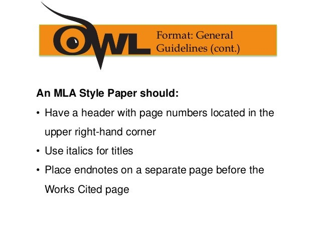 mla format for works cited pages
