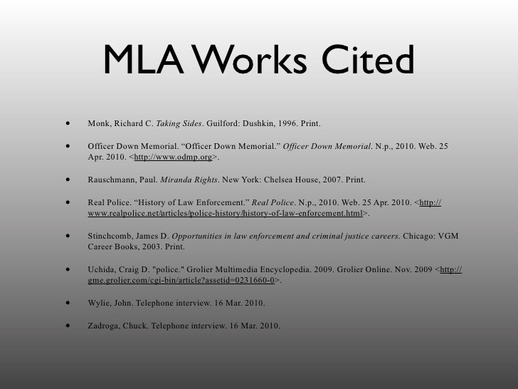mla works cited page web