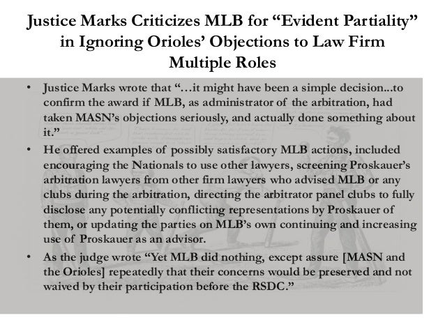 """Justice Marks Criticizes MLB for """"Evident Partiality"""" in Ignoring Orioles' Objections to Law Firm Multiple Roles • Justice..."""