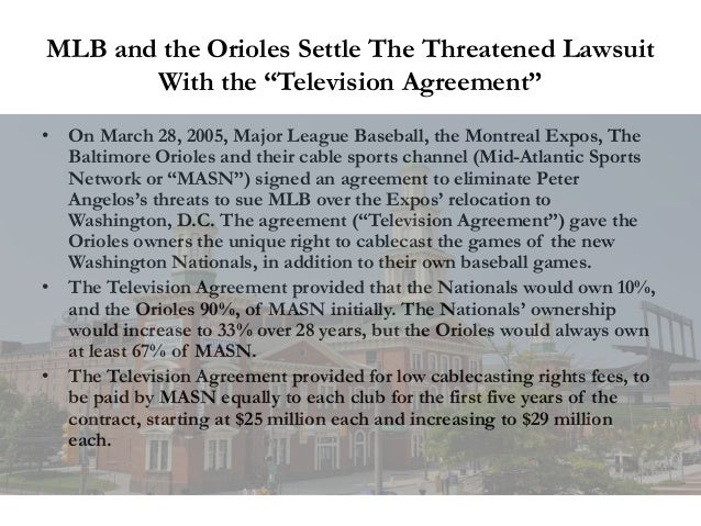 """MLB and the Orioles Settle The Threatened Lawsuit With the """"Television Agreement"""" • On March 28, 2005, Major League Baseba..."""