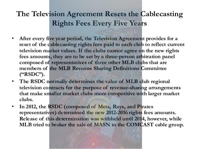 The Television Agreement Resets the Cablecasting Rights Fees Every Five Years • After every five year period, the Televisi...