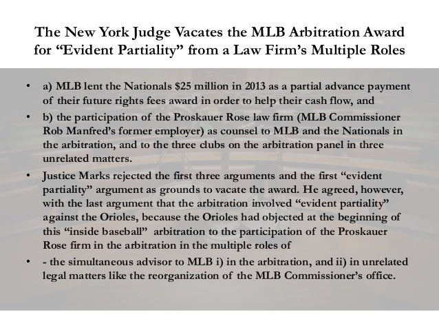 """The New York Judge Vacates the MLB Arbitration Award for """"Evident Partiality"""" from a Law Firm's Multiple Roles • a) MLB le..."""