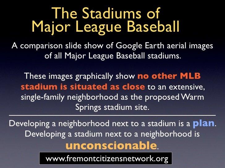 The Stadiums of      Major League Baseball A comparison slide show of Google Earth aerial images        of all Major Leagu...