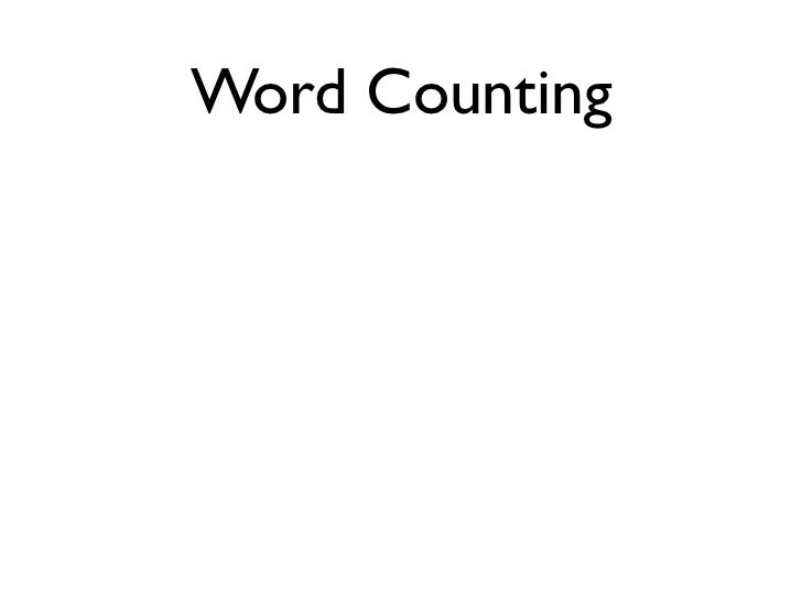 """Word Counting                                            ('the EN', 1)         X: """"The quick brown fox ..."""" Map           ..."""