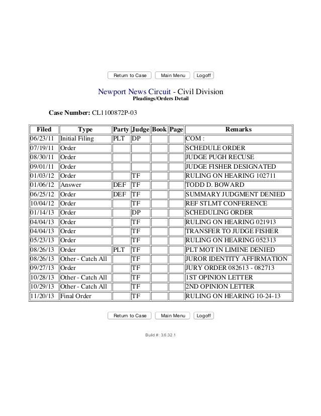 Return to Case Main Menu Logoff Newport News Circuit - Civil Division Pleadings/Orders Detail Case Number: CL1100872P-03 F...