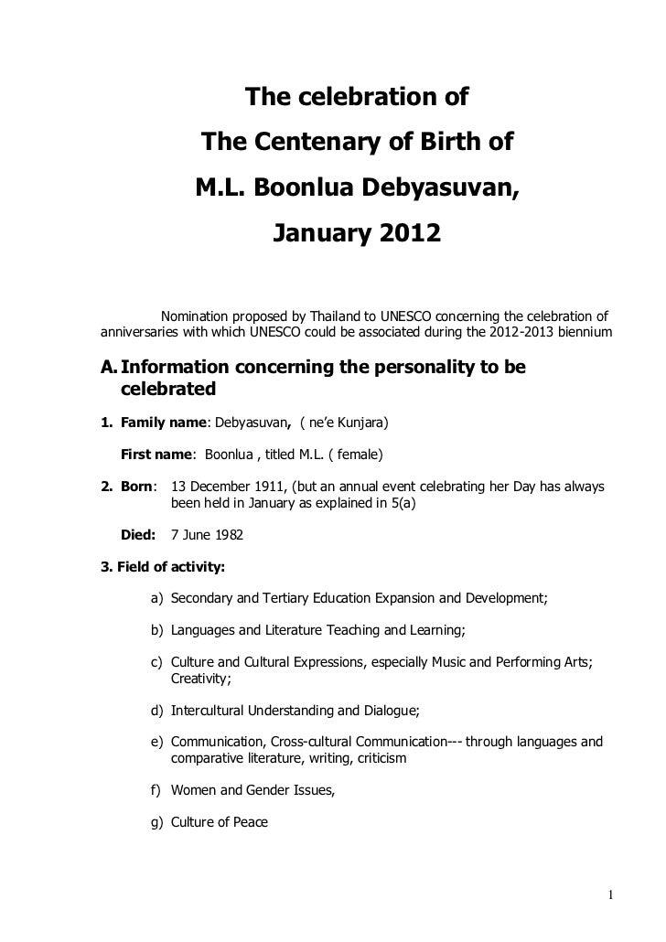 The celebration of                The Centenary of Birth of               M.L. Boonlua Debyasuvan,                        ...