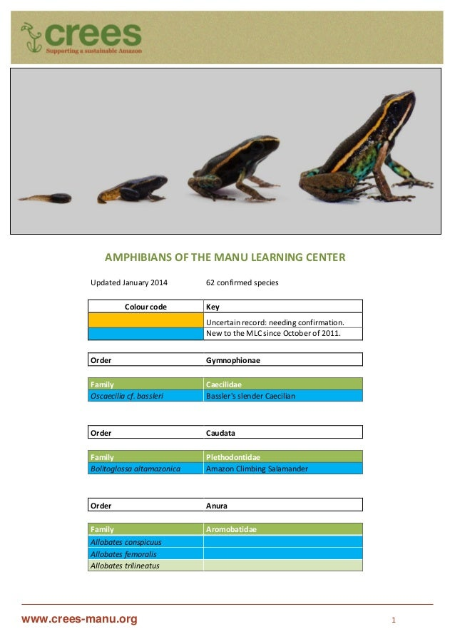 www.crees-manu.org 1 AMPHIBIANS OF THE MANU LEARNING CENTER Updated January 2014 62 confirmed species Colour code Key Unce...