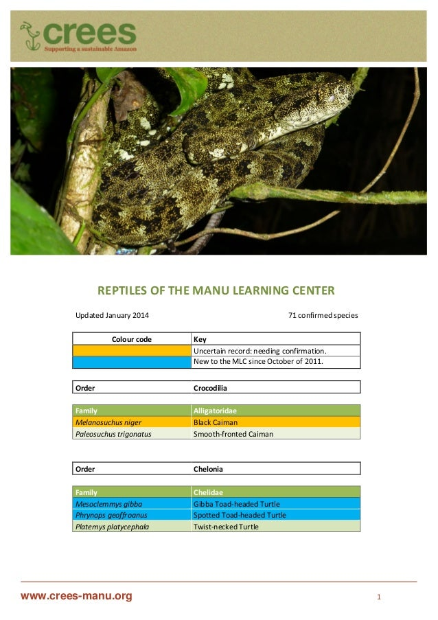 www.crees-manu.org 1 REPTILES OF THE MANU LEARNING CENTER Updated January 2014 71 confirmed species Colour code Key Uncert...