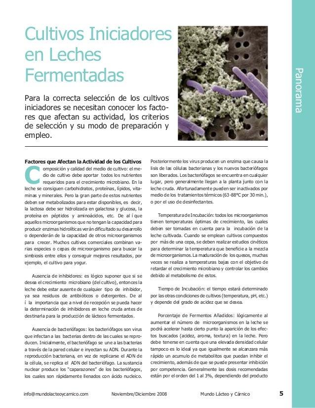 Panorama  Cultivos Iniciadores en Leches Fermentadas Para la correcta selección de los cultivos iniciadores se necesitan c...