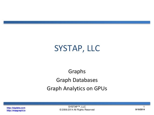http://bigdata.com  http://mapgraph.io  SYSTAP, LLC  Graphs  Graph Databases  Graph Analytics on GPUs  SYSTAP™, LLC  © 200...