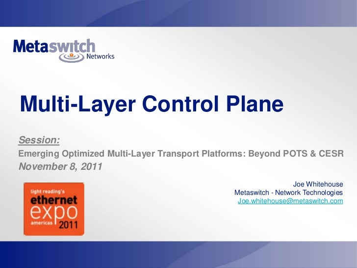Multi-Layer Control PlaneSession:Emerging Optimized Multi-Layer Transport Platforms: Beyond POTS & CESRNovember 8, 2011   ...