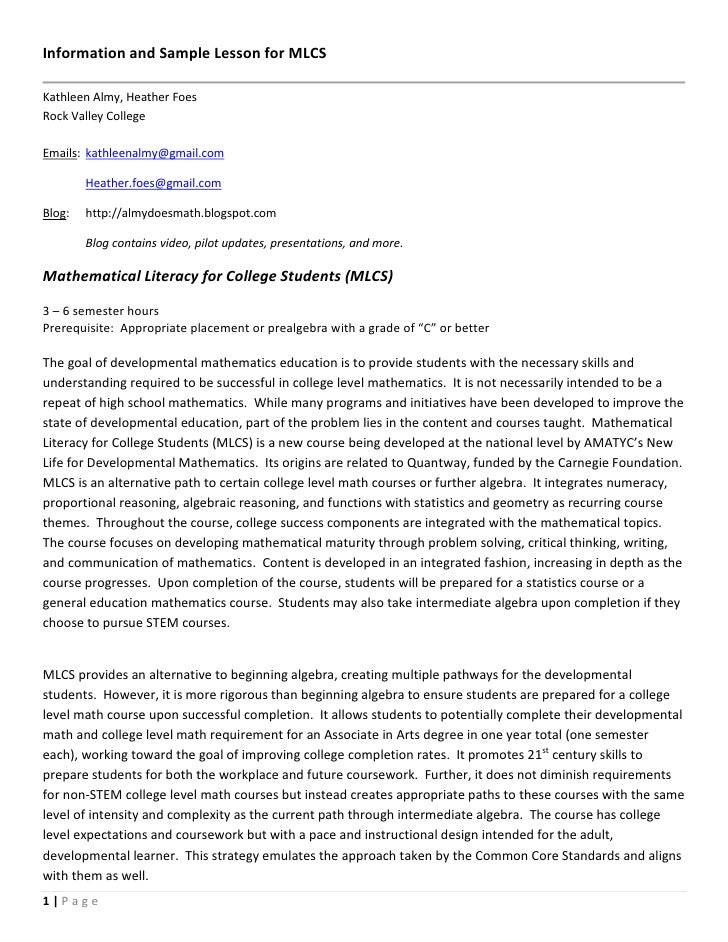 Information and Sample Lesson for MLCSKathleen Almy, Heather FoesRock Valley CollegeEmails: kathleenalmy@gmail.com        ...