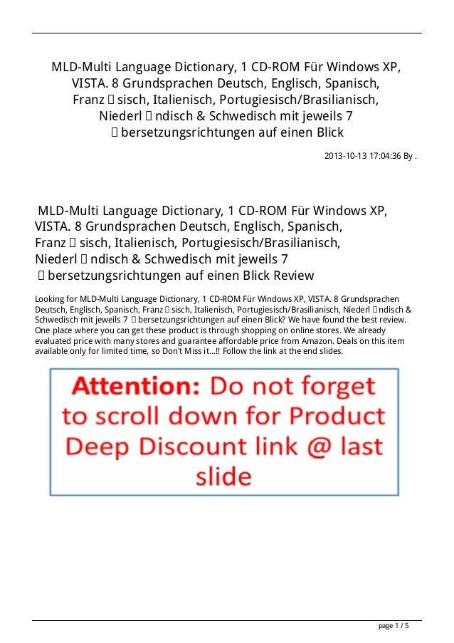 MLD-Multi Language Dictionary, 1 CD-ROM Für Windows XP, VISTA. 8 Grundsprachen Deutsch, Englisch, Spanisch, Französisch, I...