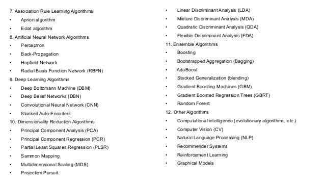 7. Association Rule Learning Algorithms • Apriori algorithm • Eclat algorithm 8. Artificial Neural Network Algorithms • Pe...