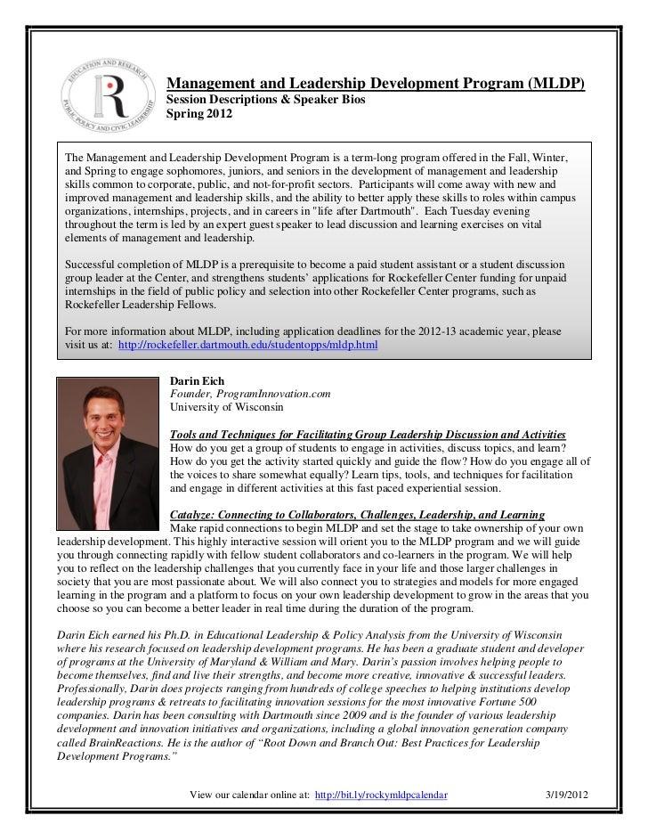 Management and Leadership Development Program (MLDP)                       Session Descriptions & Speaker Bios            ...