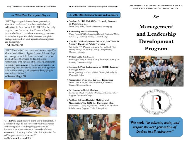 the leadership and management development program The office of executive programs offers leadership development and management training programs for federal executives, for state and local employees, and for public officials from around the globe take a look at the leadership development workshops that are included in many of our programs as well as our one-on-one executive coaching, group .