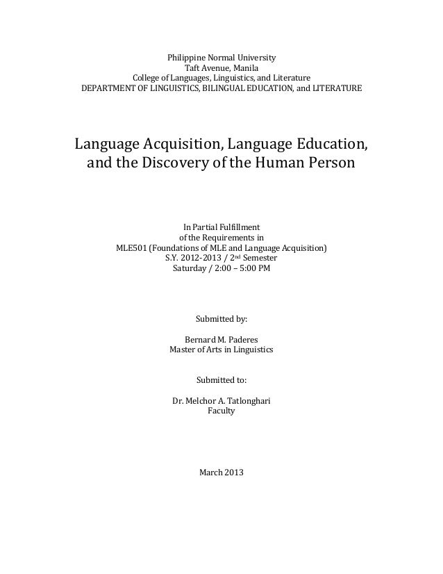 mle language acquisition education and the discovery of the h  philippine normal university taft avenue manila college of languages linguistics and literature department