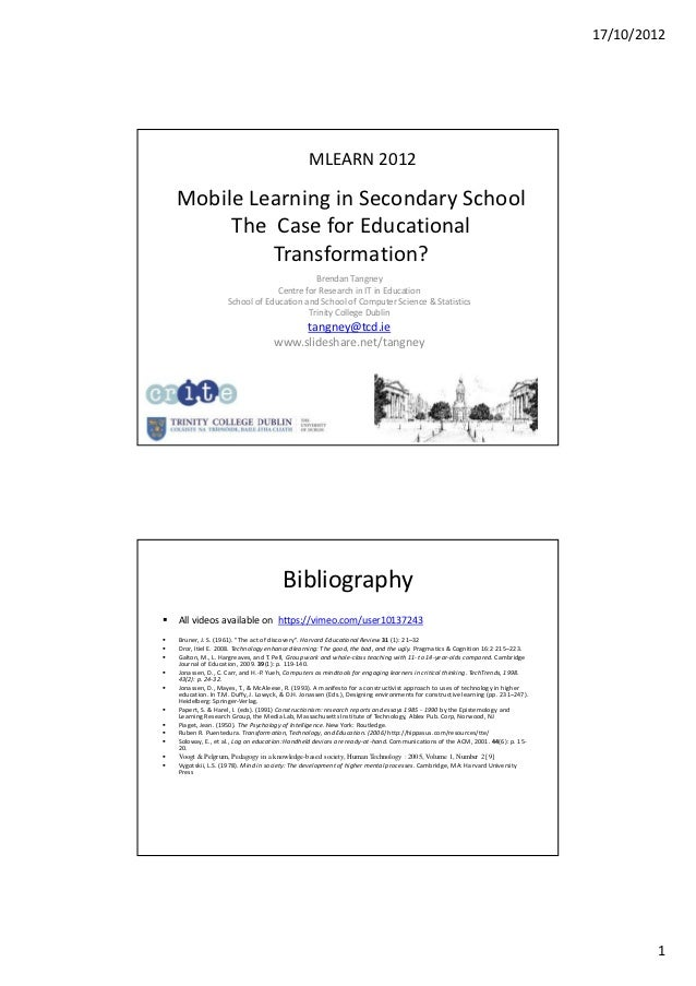 17/10/2012                                                  MLEARN 2012    Mobile Learning in Secondary School         The...