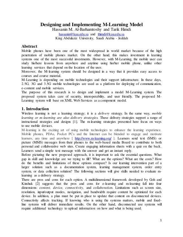 1 Designing and Implementing M-Learning Model Hassanin M. Al-Barhamtoshy and Tarik Himdi hassanin@kau.edu.sa and thimdi@ka...