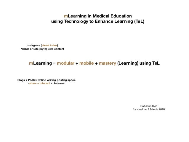mLearning in Medical Education using Technology to Enhance Learning (TeL) mLearning = modular + mobile + mastery (Learning...