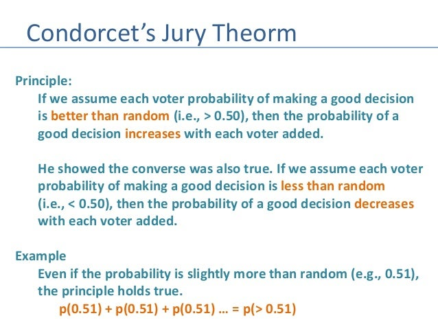 marquis de condorcet and his theories on the development of probability The marquis de condorcet  condorcet employed mathematical language, extending differential calculus and the theory of probability from physics to .