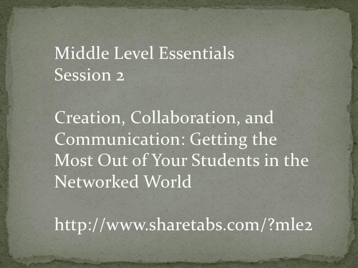 Middle Level Essentials<br />Session 2<br />Creation, Collaboration, and Communication: Getting the Most Out of Your Stude...
