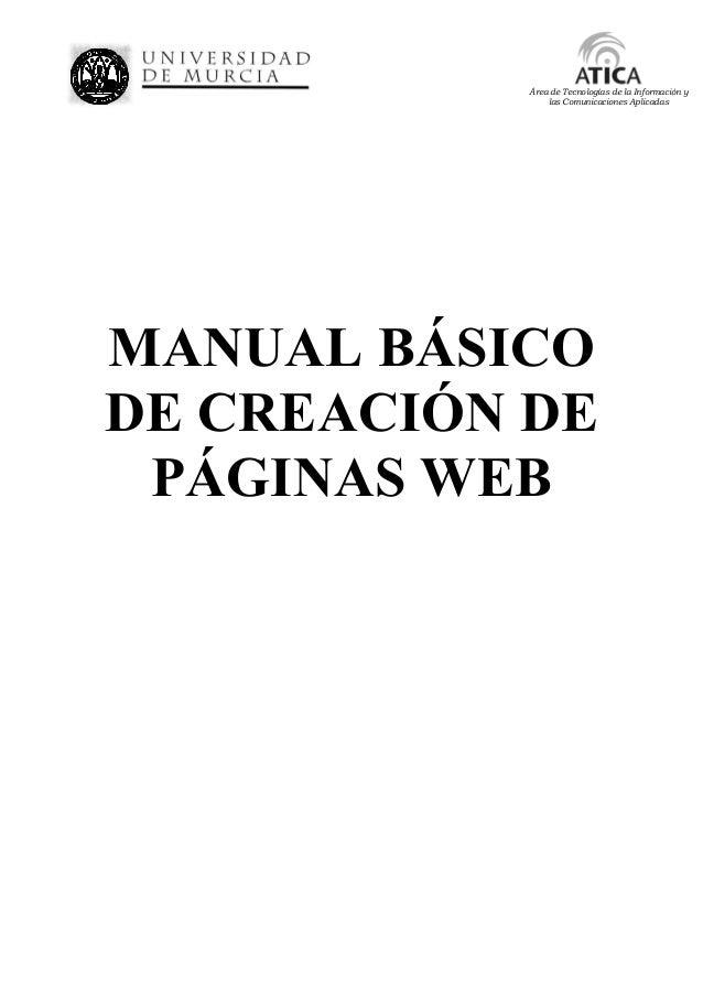Área de Tecnologías de la Información y las Comunicaciones Aplicadas MANUAL BÁSICO DE CREACIÓN DE PÁGINAS WEB