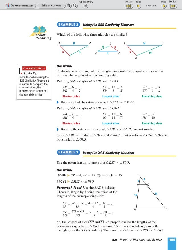 Ml geometry 8 5 proving triangles are similar – Proving Triangles Similar Worksheet