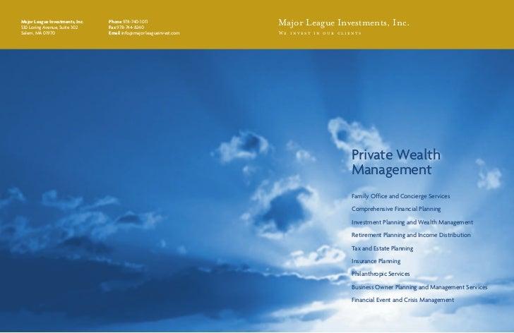 Major League Investments, Inc.530 Loring Avenue, Suite 302                                 Phone 978-740-1011             ...
