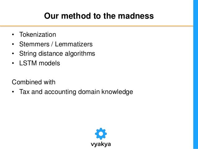 Our method to the madness • Tokenization • Stemmers / Lemmatizers • String distance algorithms • LSTM models Combined with...