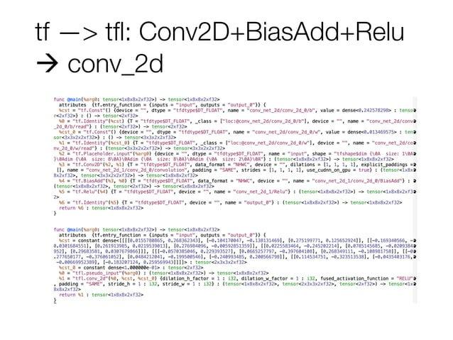 tf —> tfl: Conv2D+BiasAdd+Relu ! conv_2d