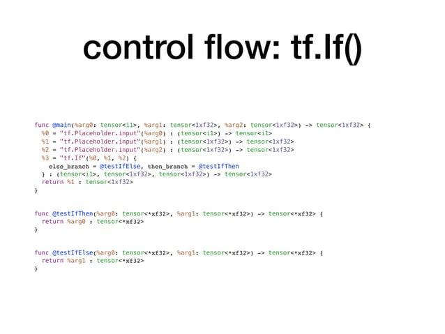 "control flow: tf.If() func @main(%arg0: tensor<i1>, %arg1: tensor<1xf32>, %arg2: tensor<1xf32>) -> tensor<1xf32> { %0 = ""tf..."