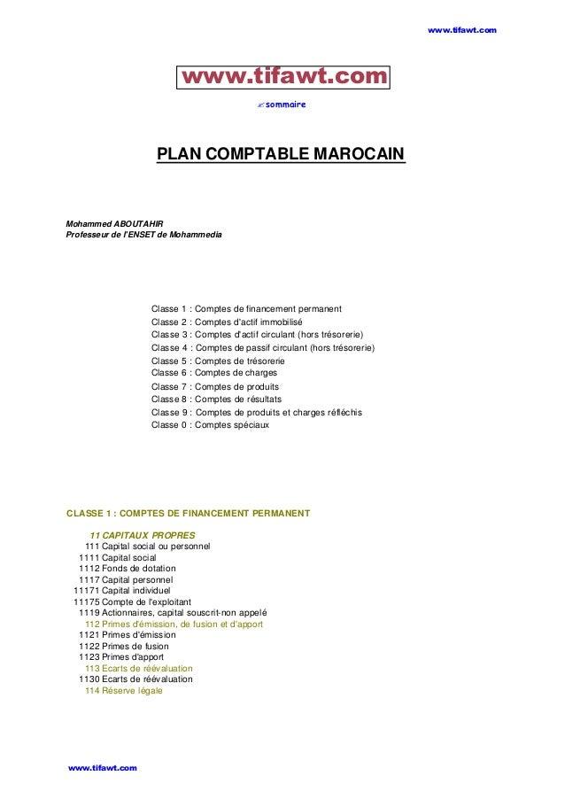 ?sommaire PLAN COMPTABLE MAROCAIN Mohammed ABOUTAHIR Professeur de l'ENSET de Mohammedia Classe 1 : Comptes de financement...
