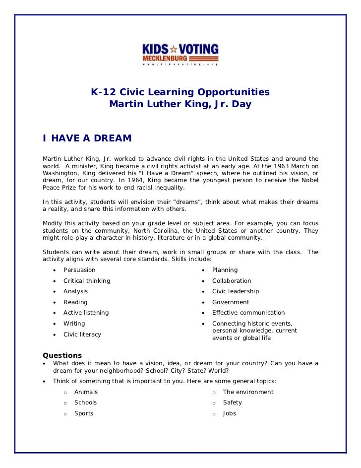 K-12 Civic Learning Opportunities                      Martin Luther King, Jr. DayI HAVE A DREAMMartin Luther King, Jr. wo...