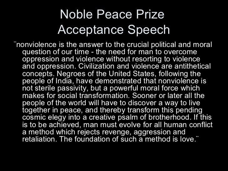 peace speech No one thinking seriously about peace can ignore the reality of what the  now,  we all know that a speech alone won't produce peace.