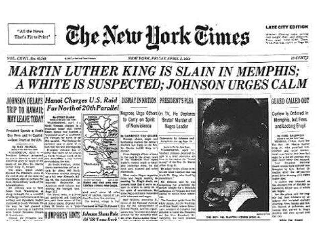 Mlk Jr S Assassination In Newspaper Headlines