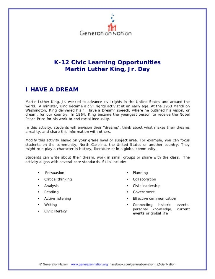 K-12 Civic Learning Opportunities                    Martin Luther King, Jr. DayI HAVE A DREAMMartin Luther King, Jr. work...