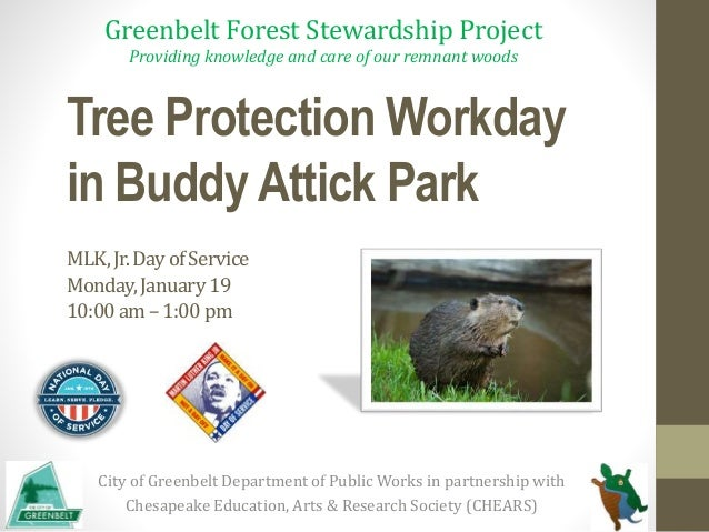Tree Protection Workday in Buddy Attick Park MLK,Jr.DayofService Monday,January19 10:00am–1:00pm City of Greenbelt Departm...