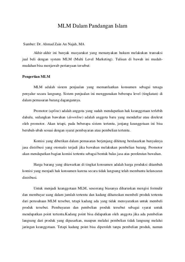 MLM Dalam Pandangan IslamSumber: Dr. Ahmad Zain An Najah, MA        Akhir-akhir ini banyak masyarakat yang menanyakan huku...