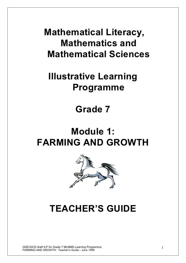 Mathematical Literacy,                  Mathematics and               Mathematical Sciences                  Illustrative ...