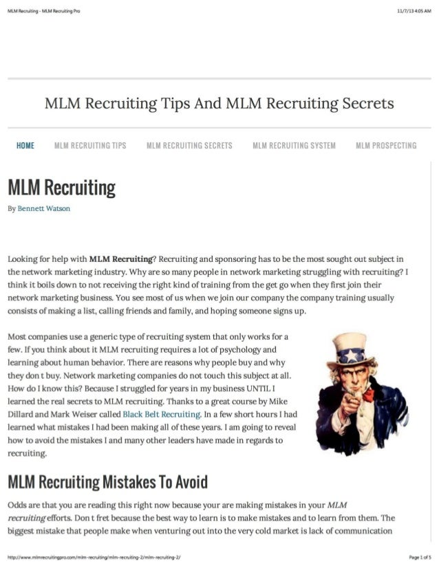 MLM Recruiting Tips And Secrets