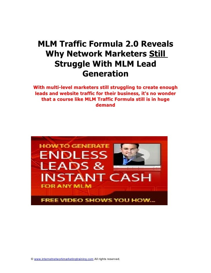 MLM Traffic Formula 2.0 Reveals      Why Network Marketers Still        Struggle With MLM Lead               Generation  W...