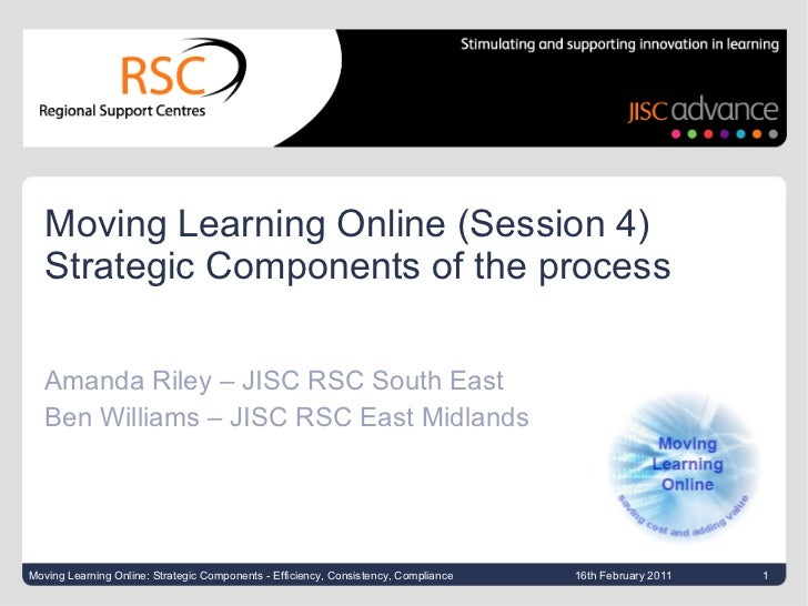 Moving Learning Online (Session 4)  Strategic Components of the process Amanda Riley – JISC RSC South East Ben Williams – ...