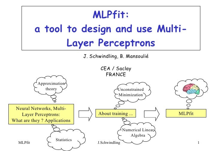 MLPfit: a tool to design and use Multi-Layer Perceptrons J. Schwindling, B. Mansoulié CEA / Saclay FRANCE Neural Networks,...