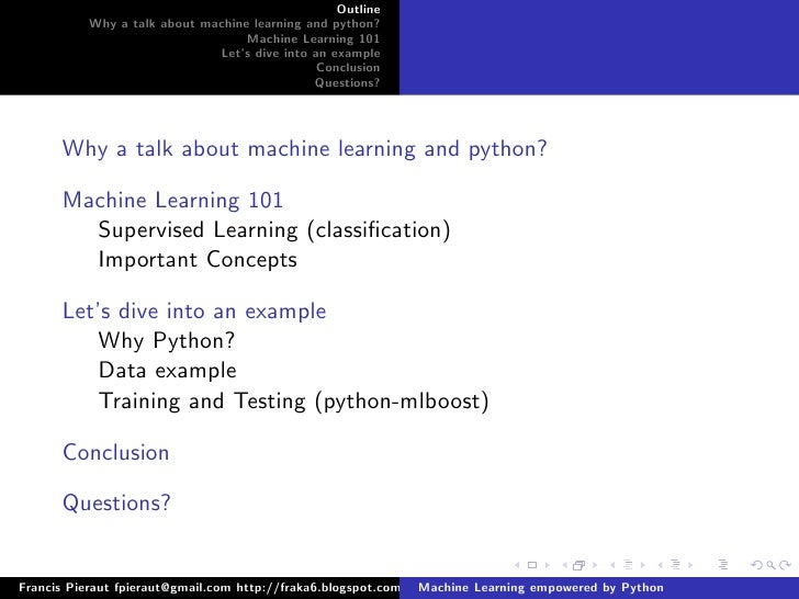 Machine learning empowered by python april2009 - Dive into python ...