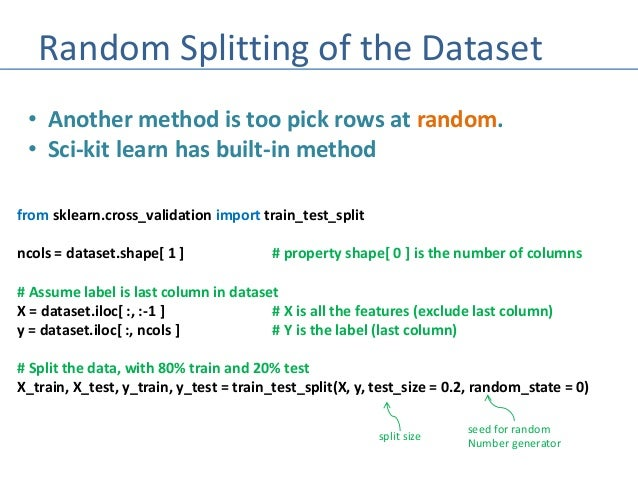 Machine Learning - Splitting Datasets