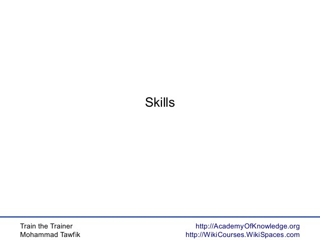 Train the Trainer Mohammad Tawfik http://AcademyOfKnowledge.org http://WikiCourses.WikiSpaces.com Skills