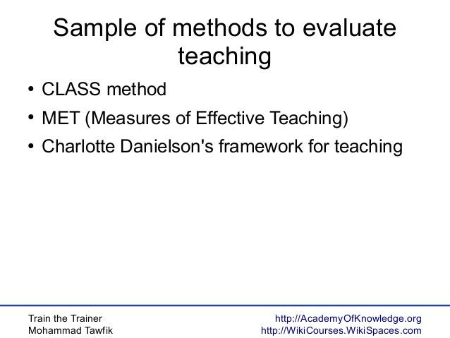 Train the Trainer Mohammad Tawfik http://AcademyOfKnowledge.org http://WikiCourses.WikiSpaces.com Sample of methods to eva...