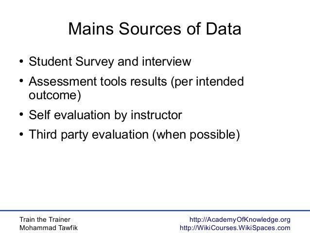 Train the Trainer Mohammad Tawfik http://AcademyOfKnowledge.org http://WikiCourses.WikiSpaces.com Mains Sources of Data ● ...