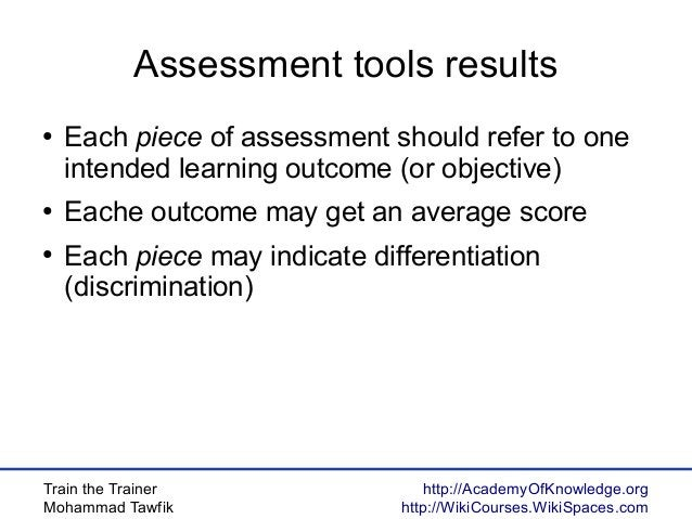 Train the Trainer Mohammad Tawfik http://AcademyOfKnowledge.org http://WikiCourses.WikiSpaces.com Assessment tools results...